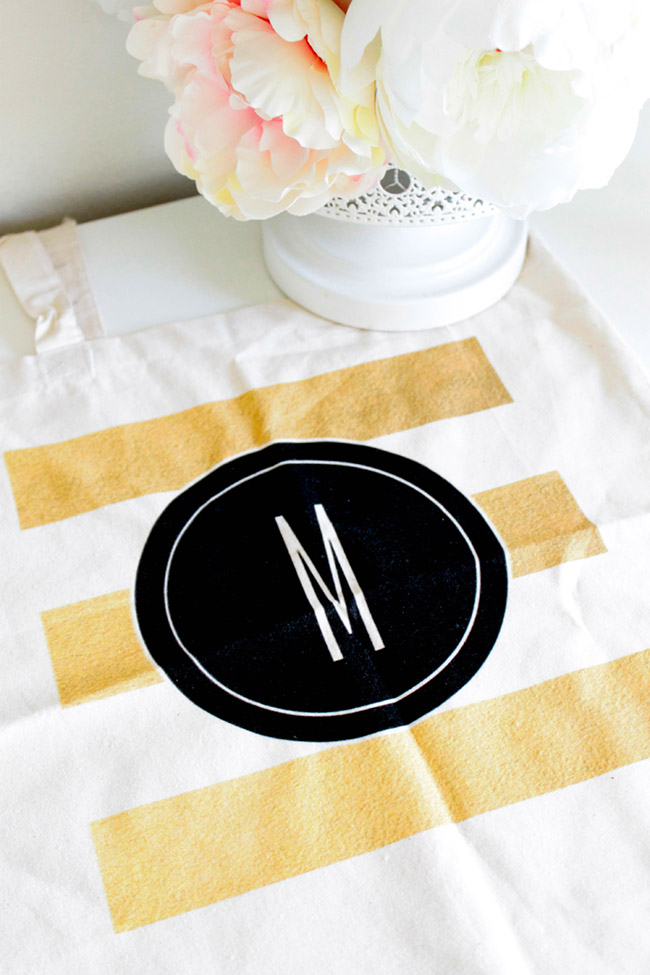 Gold Striped Tote Bag- Lovely For Mother's Day