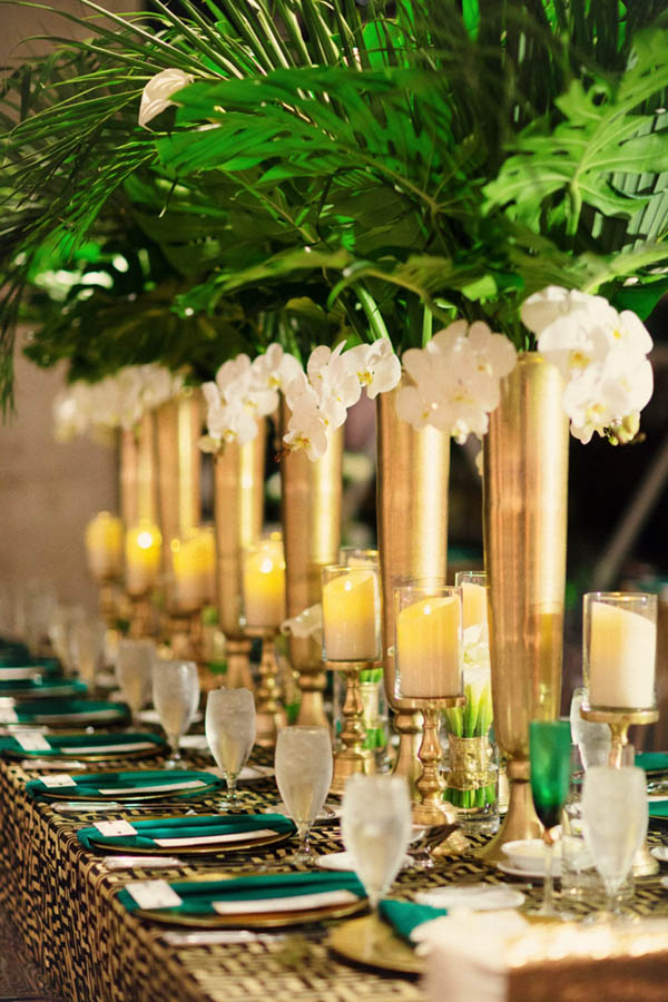 Palm Leaf Centerpieces- so pretty! - See more amazing party trends for 2016 at B. Lovely Events!