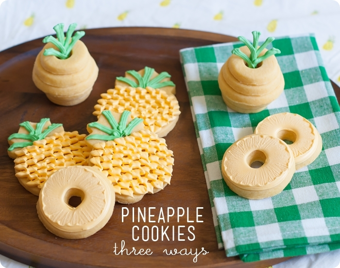 Pineapple cookies 3 ways - See More Lovely Pineapple Party Ideas At B. Lovely Events!