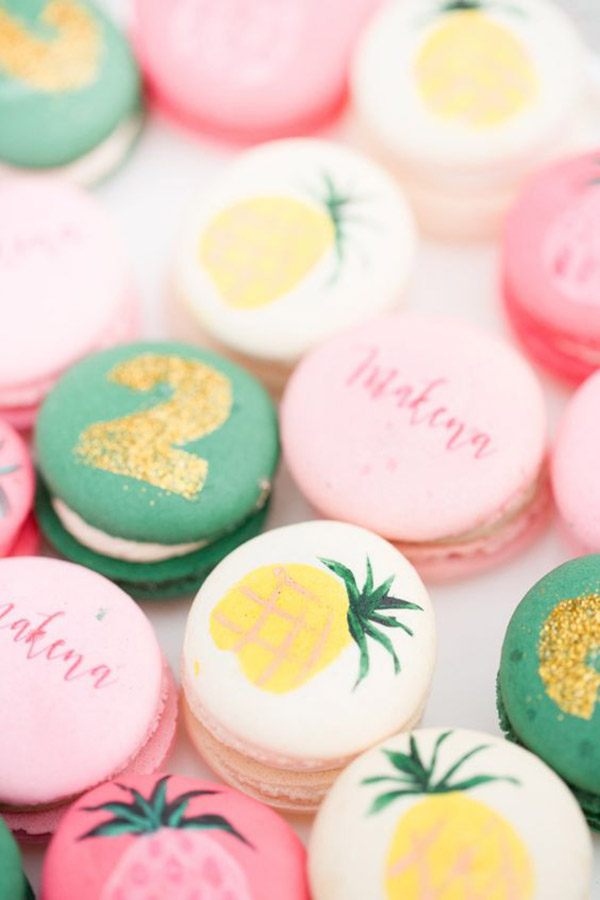 Pineapple Macaroons that are so cute - See More Lovely Pineapple Party Ideas At B. Lovely Events!