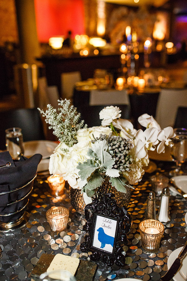 Modern white and silver wedding centerpiece with roses and orchids-  B. Lovely Events