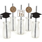 Tassel-Worth-The-Hassle-Gold-Graduation-Beverage-Decoration - See More Gold Graduation Ideas on B. Lovely Events