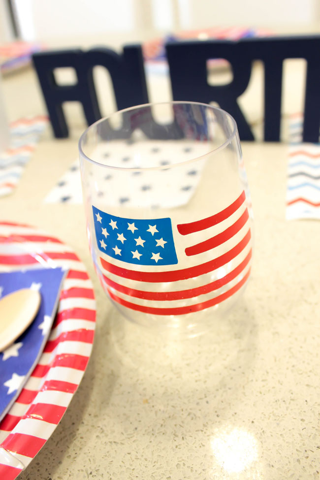 Fun Flag Wine Glass For 4th of July-B. Lovely Events