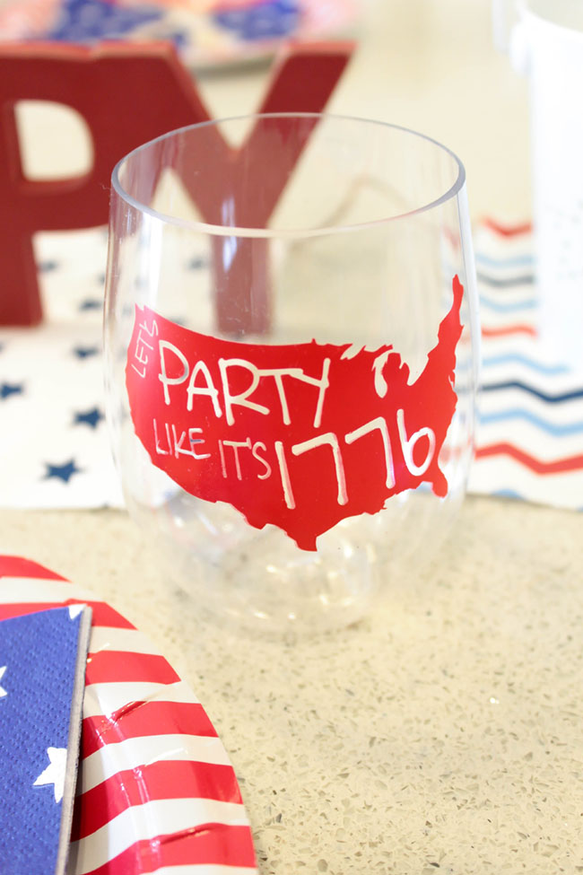 Party Like Its 1776 Wine Glass For 4th of July- B. Lovely Events