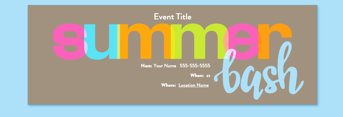 Summer Bash Ice Cream Party Invitation