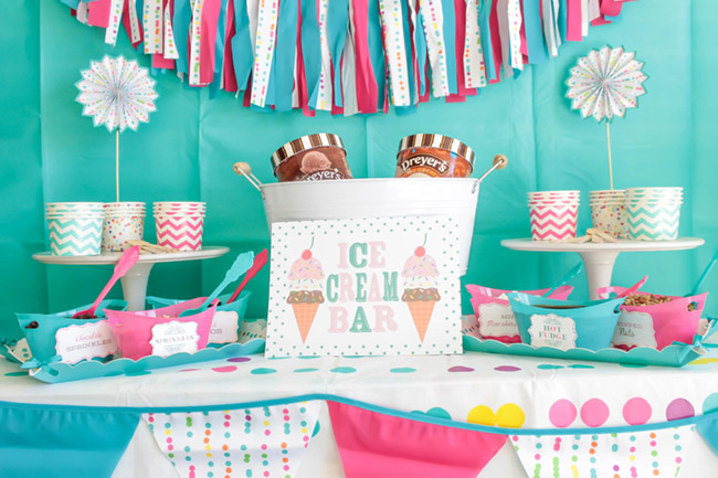 Summer Fun Ice Cream Party Full Of Colors & Polka Dots - See more ice cream party ideas on B. Lovely Events