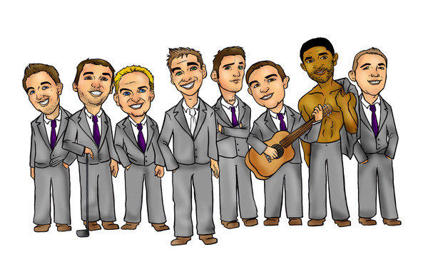 Wedding giveaway groomsmen caricature
