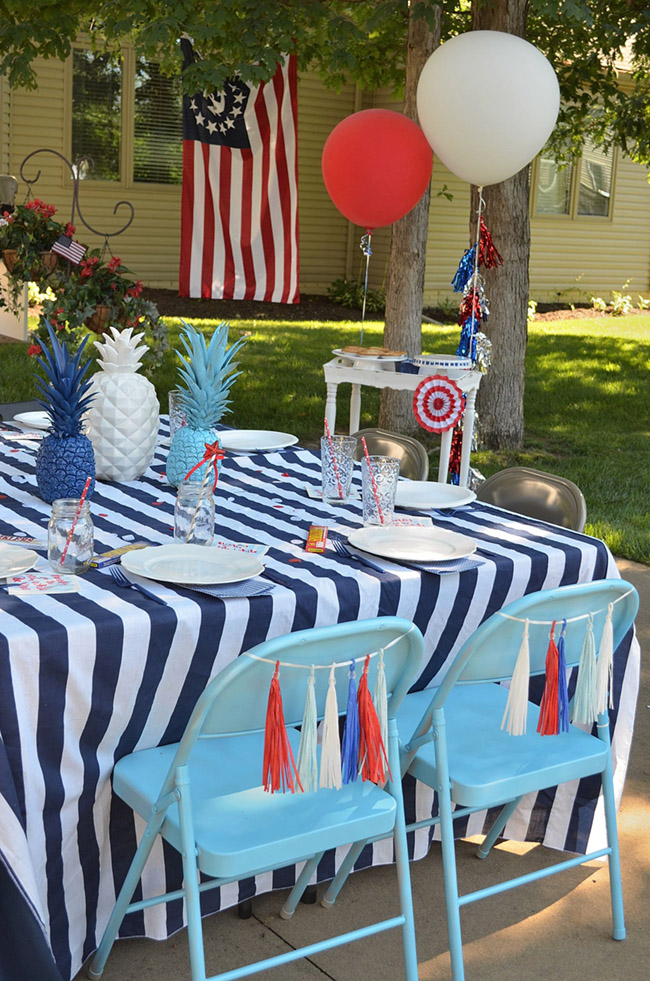 4th Of July Celebration Table Setting -See All Of The Lovely Party Details on B. Lovely Events!