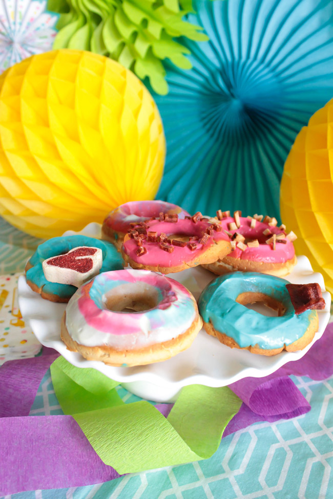 Colorful dog party doggie donuts- Get the recipe from B. Lovely Events