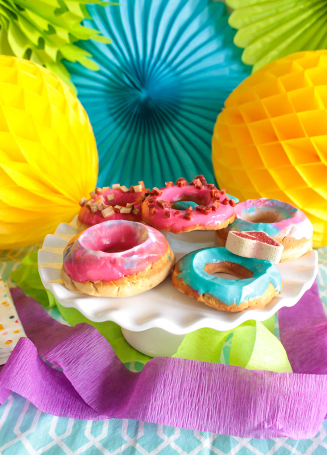 Colorful doggie donuts- Get the recipe and how to from B. Lovely Events