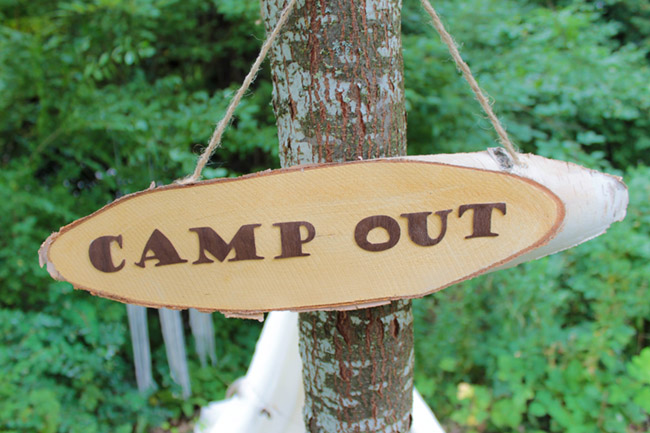 Kid Campout DIY Wood Sign- See More Lovely Kid's Camp Out Ideas on B . Lovely Events