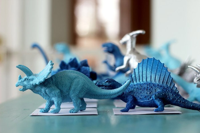 Cute Blue Painted Dinosaurs!