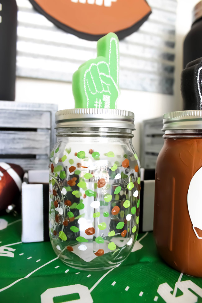 fun-football-mason-jar- See how to make them on B. Lovely Events