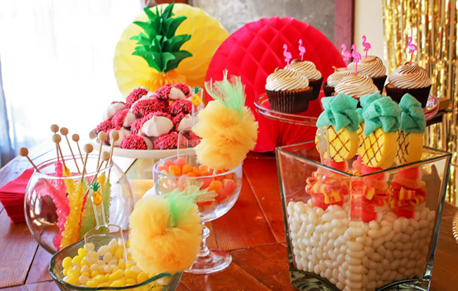 Pineapple Party Flamingo Party Dessert Bar