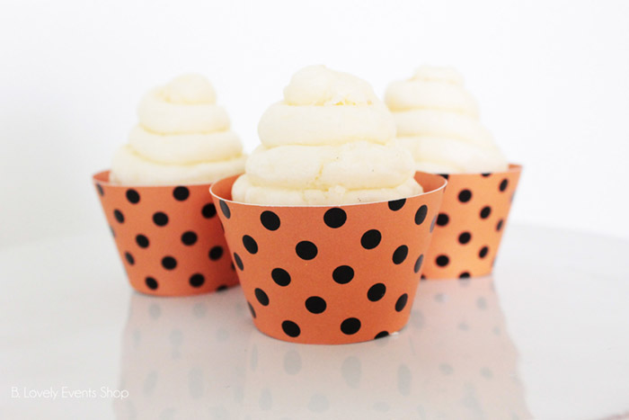Orange And Black Polka Dot Cupcake Wrappers- Get Them At B. Lovely Events Shop