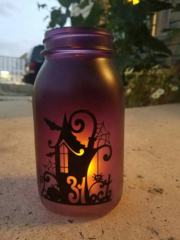 Silhouette Halloween mason jar