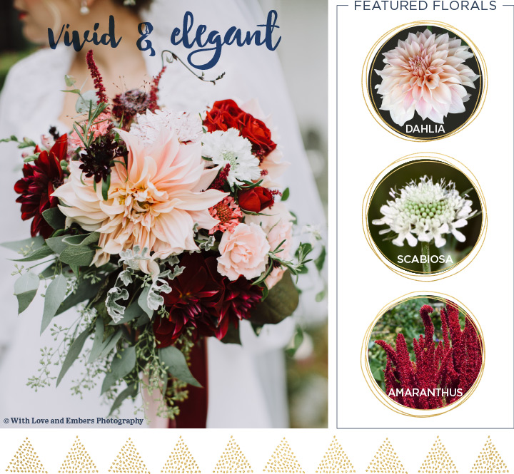 Wild and elegant Fall wedding bouquet