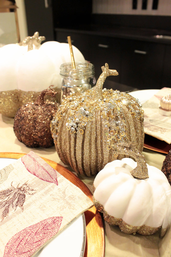 Silver Sparkle Pumpkin on This lovely Thanksgiving Tablescape!- B. Lovely Events