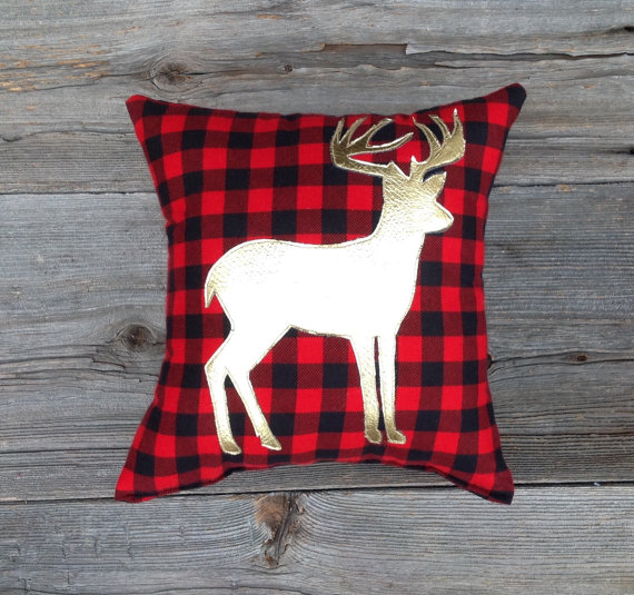 buffalo plaid gold deer pillow- perfect for the holidays