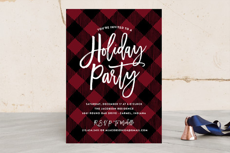 Buffalo Plaid Invitation for a holiday party, so cute- See More Buffalo Check Ideas on B. Lovely Events