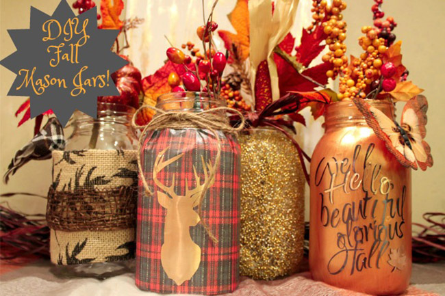 Create these beautiful fall mason jars in 5 steps or less for Diy fall mason jars