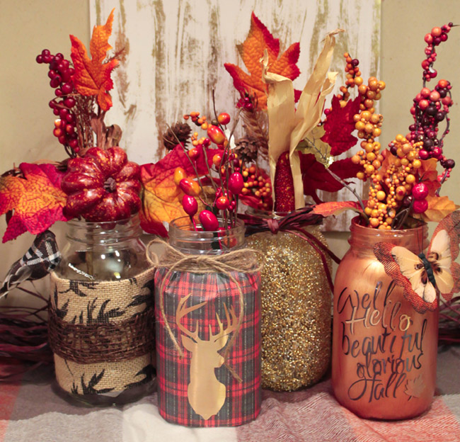 DIY Fall Mason Jars- Get the Instructions on B. Lovely Events