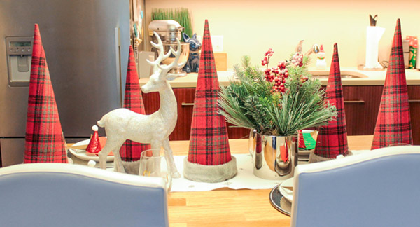 love the plaid cone tree on this Christmas Tablescape- B. Lovely Events