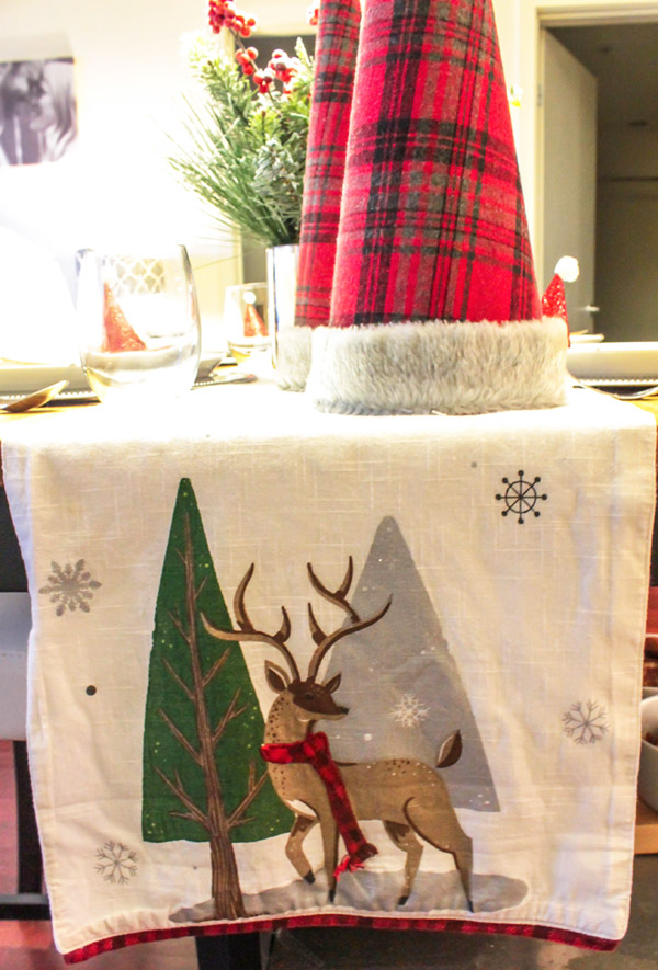 love this festive Christmas runner on this table - B. Lovely Events