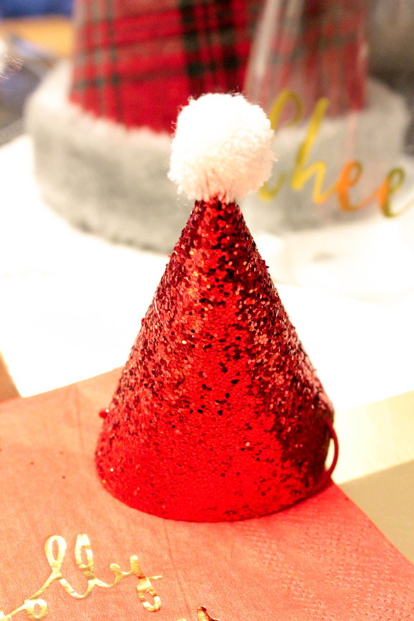 these tiny Santa hats are the best- See more of this Christmas Tablescape on B. Lovely Events