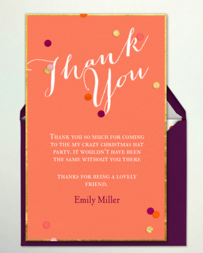 Evite Thank you notes