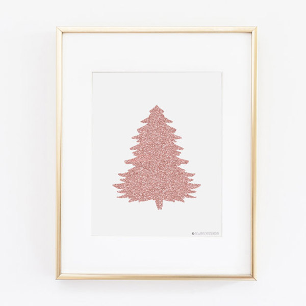 Rose Gold Christmas tree art