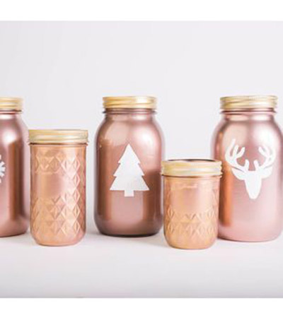 Love these Rose Gold Chirstmas Mason Jars