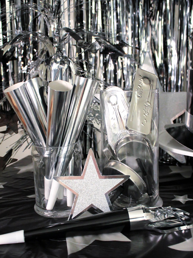 Silver New Years Eve party supplies With Amols & B. Lovely Events