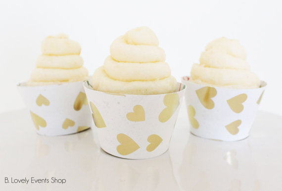 Gold heart Cupcake wrappers