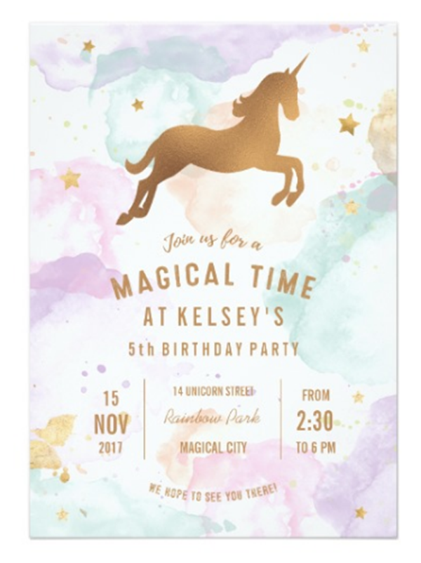 Magical Unicorn Birthday Invitation- See more Rainbow Unicorn Party Ideas on B. Lovely Events
