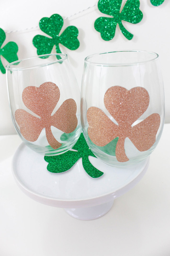 DIY Shamrock Wine Glasses for St. Patrick's Day -B. Lovely Events