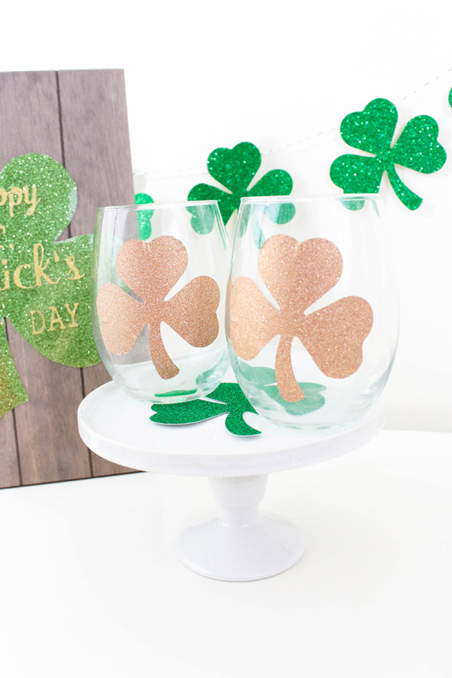 DIY Shamrock Wine Glasses for St. Patrick's Day- See how to make it on B. Lovely Events