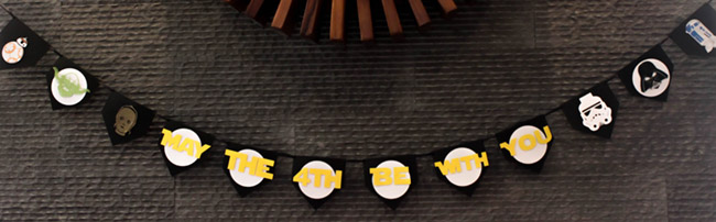 DIY Star Wars Banner May The 4th Be With You- See how to make it on B. Lovely Events