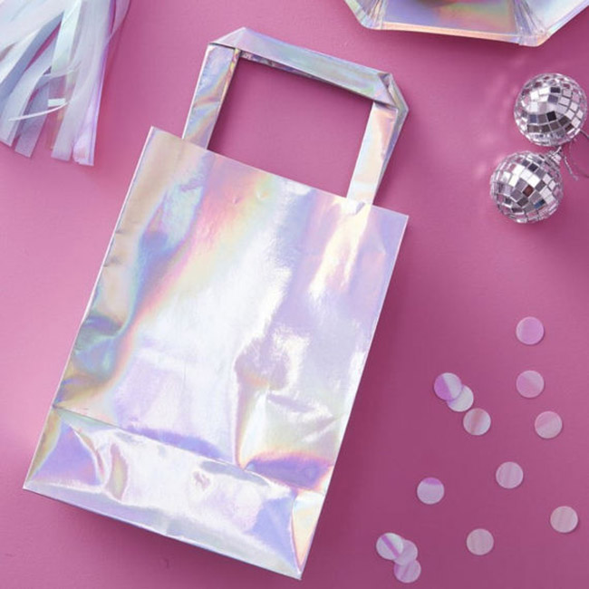 Iridescent Party Bags- so cute - See more iridescent hologram party ideas on B. Lovely Events