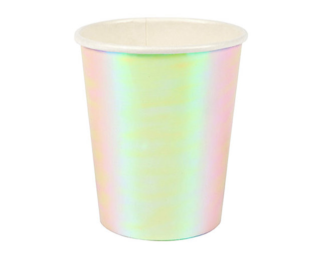 Iridescent Party Cups- LOVE! - See more iridescent hologram party ideas on B. Lovely Events