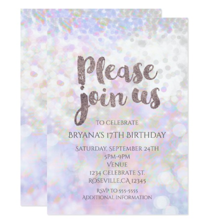 Iridescent Party Invitation- So lovely!- See more iridescent hologram party ideas on B. Lovely Events