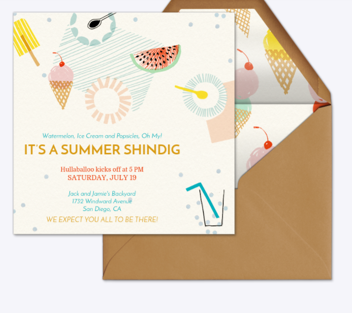 Summer shindig invitation- Evite