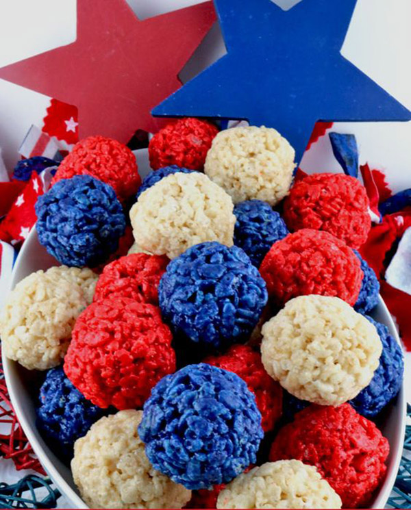 4th of July Rice Crispies!- See all 8 AWESOME 4th of July Rice Krispy ideas on B. Lovely Events!