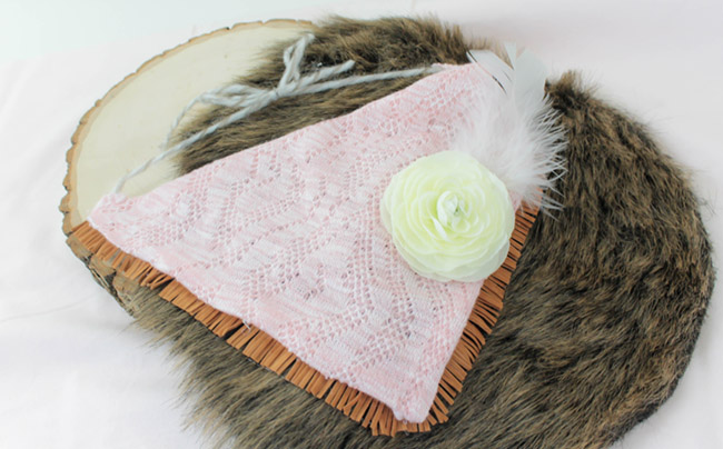 DIY no sew Boho Baby Bibs- Learn how to make this Pink and fringe baby bib