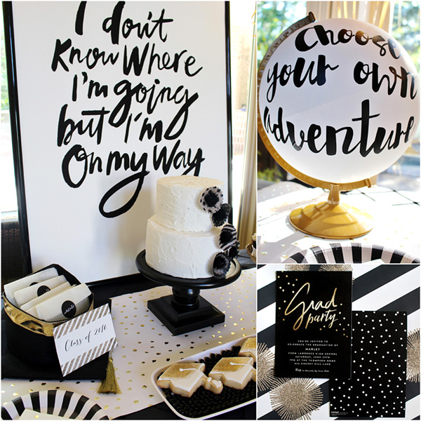 Love this amazing black and white Grad party decor! - See more graduation Party ideas on B. Lovely Events
