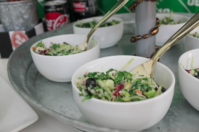 Football food ideas- Love this slaw!-See more Football party details at B. Lovely Events