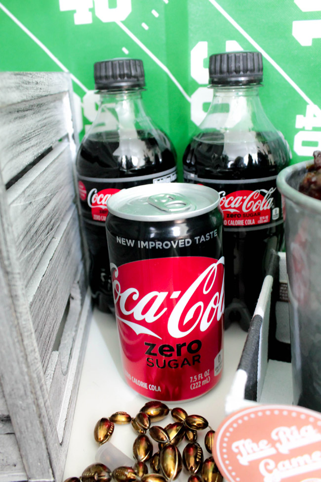 Football party drinks with COCA-COLA ZERO SUGAR-See more Football party details at B. Lovely Events