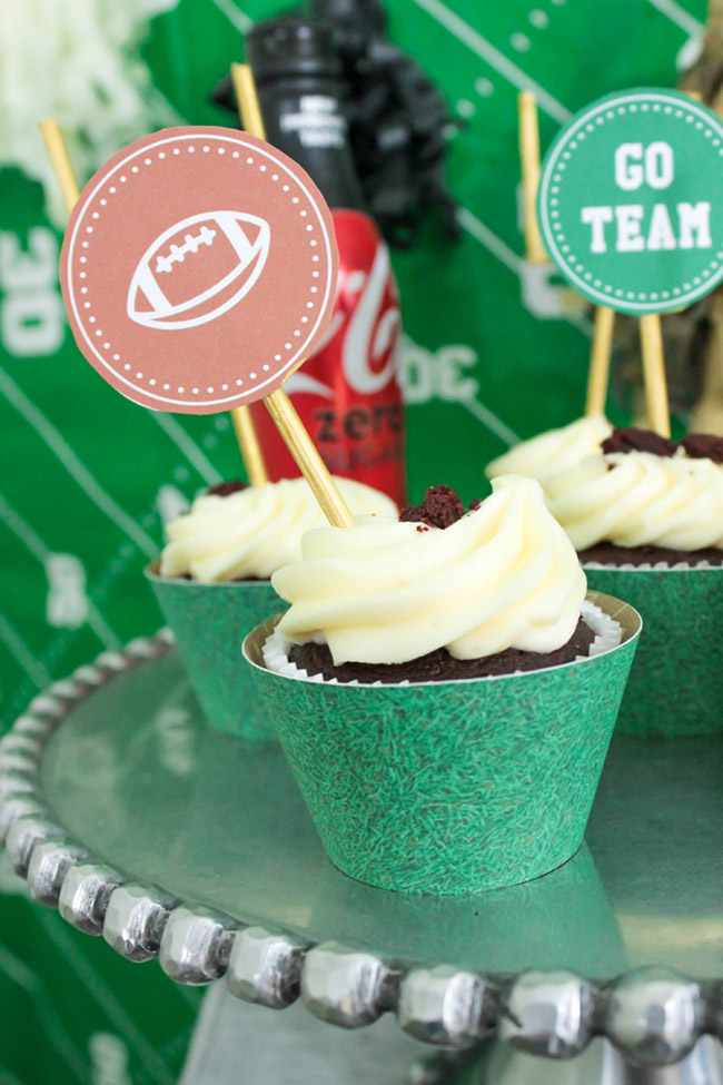 Football Party Cupcakes-See more Football party details at B. Lovely Events