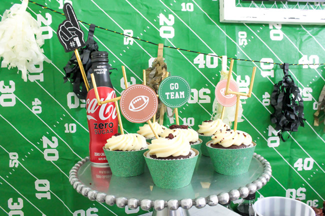 Football party cupcakes- so cute!-See more Football party details at B. Lovely Events