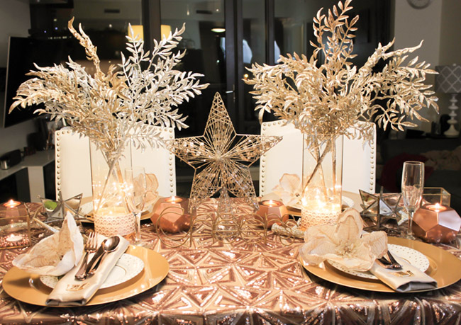 New Year's Eve Tablescape and place setting- B. Lovely Events